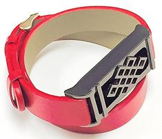 BSI Long Red Leather Straps Band With Metal Buckle Clasp And Titanium Black Unique Design Metal Housing For Fitbit Flex Activity Tracker *** You can find more details by visiting the image link.