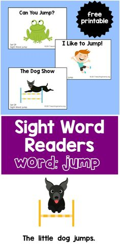 "Sight Word Readers for the Word ""Jump"" - Teaching Mama Sight Word Worksheets, Sight Word Activities, Phonics Activities, Book Activities, Word Games, Teaching Resources, Pre K Sight Words, Sight Word Readers, Sight Words List"