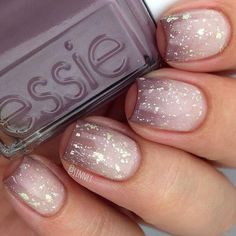 Sparkling Nude Gradient American Manicure