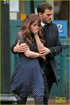 Jamie Dornan Consoles an Upset Dakota Johnson for 'Fifty Shades Darker' Scene: Photo Jamie Dornan consoles a visibly upset Dakota Johnson while filming a scene for their upcoming movie Fifty Shades Darker on Tuesday afternoon (March in Vancouver,… Fifty Shades Of Darker, Shades Of Grey Movie, 50 Shades Trilogy, Fifty Shades Series, Fifty Shades Movie, Christian Grey, Jamie Dornan, Dakota Johnson, Mr Grey