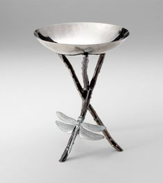 Cyan Design Cast Iron and Silver Dragonfly Tabletop Bowl
