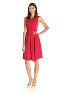 Lark & Ro Women's Sleeveless Boat Neck Ponte Fit and Flare Dress ○ #PrettyPartyDresses #Dresses