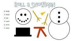 Roll a Snowman game.  Fun game for the kids while on break.  Could also redo to use more than one die and require an operation.  Could use range of #s to earn pieces.