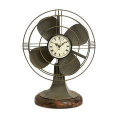 Dot & Bo Retro Vintage Fan Clock ($57) ❤ liked on Polyvore featuring home, home decor, clocks, decor, fillers, furniture, iron home decor and iron clock