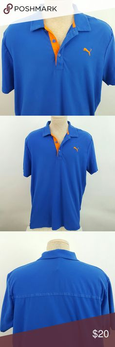 Men's polo by Puma XL Polo shirt by Puma. Blue with orange logo. Size XL. Armpit to armpit 24.5 inches, length 31 inches. Shirt pre-owned in excellent condition. No stains, no holes. BM13 Puma Shirts Polos