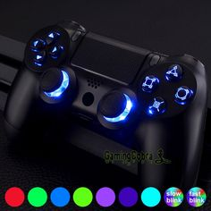 eXtremeRate Multi-Colors Luminated D-pad Thumbsticks Face Buttons (DTF) LED DIY Kit with Classical Symbols Buttons Set for Controller Universal - 7 Colors 9 Modes Touch Control Naruto Shippuden, Boruto, Ps4 Controller Custom, Game Controller, Playstation 4 Accessories, Computer Accessories, Control Playstation, Joystick, Led Color