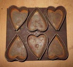 Unusual Early Handmade Heart Shaped Muffin Tin   eBay