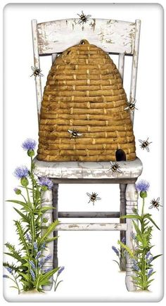 Floral and Gardening Farmers Beehive and White Chair Cotton Flour Sack Dish Towel Tea Towel Purl Bee, Dish Towels, Tea Towels, I Love Bees, Bee Skep, Bee Art, Bee Happy, Save The Bees, Country Style Homes