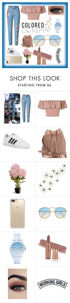 """Denim"" by denissevazq ❤ liked on Polyvore featuring Miss Selfridge, adidas, nooki design, National Tree Company, Global Views, Speck, Lacoste and Working Girls"