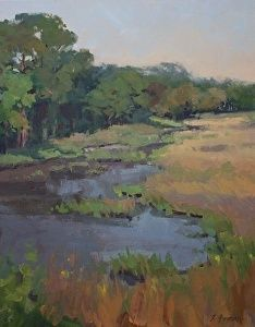 Afternoon Marsh by artist Theresa Forman. #landscape #painting found on the FASO Daily Art Show - http://dailyartshow.faso.com
