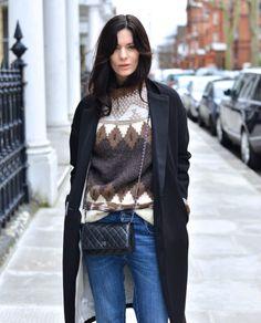 crossbody, knit sweater, boyfriend jeans, overcoat - c'est parfait!