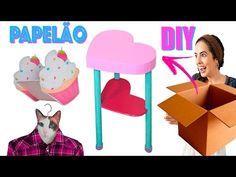 DIYs COM PAPELÃO : MESA FOFINHA, CABIDE & CUPCAKE CACHEPÔ | Paula Stephânia - YouTube