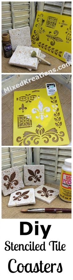 Home Decor Habitacion diy stenciled tile coasters Upcycled Home Decor, Recycled Crafts, Handmade Home Decor, Repurposed, Diy Projects On A Budget, Diy Craft Projects, Decor Crafts, Easy Crafts, How To Make Tiles