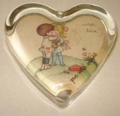 VINTAGE JOAN WALSH ANGLUND GLASS PAPERWEIGHT Joan Walsh, Glass Paperweights, Cute Images, Marbles, Little People, Paper Weights, Beautiful Words, Illustrator, Hearts