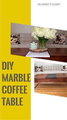 Awesome marble contact paper coffee table makeover!  For less than 10 bucks this coffee table is transformed with contact paper!