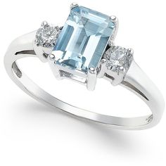Aquamarine (1 ct. t.w.) and Diamond (1/5 ct. t.w.) Ring in 14k White... ($1,501) ❤ liked on Polyvore featuring jewelry, rings, blue, emerald cut diamond ring, 14k white gold ring, white gold diamond rings, 14 karat white gold ring and diamond rings