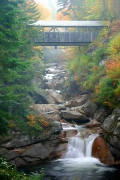 franconia notch, cover bridg, state parks, new england, white mountains