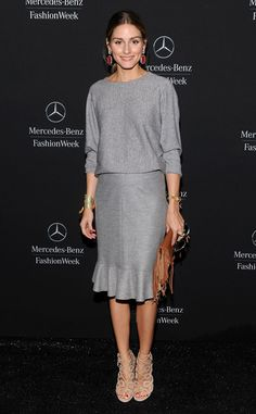 • The fashionista recycles her lacy shoes from earlier this week with an all-gray ensemble - Olivia Palermo •