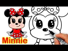 How to Draw Disney Minnie Mouse Cute step by step Easy - YouTube