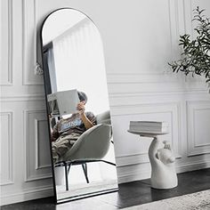 OGCAU Full Length Floor Mirror Wall Mirror Standing Hanging or Leaning Against Wall for Bedroom, Sleek Arched-Top Mirror… Full Length Mirror Gold, Leaning Floor Mirror, Oversized Wall Mirrors, Living Room White, Boho Room, Wall Mounted Mirror, Wall Decor, Flooring, Bedroom