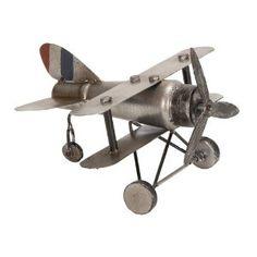 """Handcrafted 10"""" Antique Replica Desktop Model Metal Bi-Plane... $35.99"""