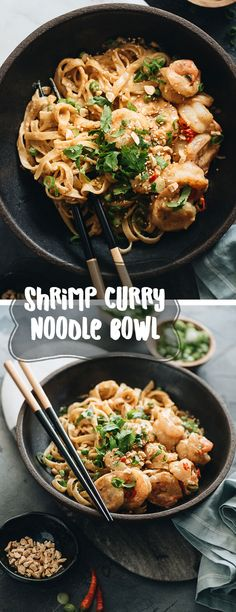 A scrumptious shrimp laksa curry bowl made with juicy shrimp and tender noodles soaked in a coconut curry sauce. It is a super fast one-bowl recipe that is perfect for a weekday dinner. #curry #shrimp #recipes #thai #onebowl #noodles