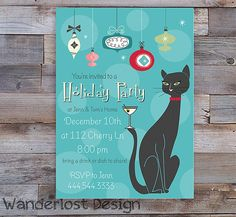Vintage Retro Holiday Party Card Mid Century Cat Ornaments Mad