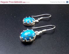 ON SALE Blue Howlite Earrings Sterling Silver Small by lyrisgems, $23.78