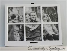 I love this idea! An enlarged phot framed behind a vintage window - so cute! From Under $5 Family Window Framed @ Domestically-Speaking.com
