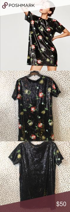 Zara Sequined Floral Embroidered Shift Dress NWT Zara NWT Sequined Floral Embroidered Shirt dress. Gorgeous dress! Size small. Measures about 20 inches arm pit to arm pit, and is about 31 inches long.  **no modeling or trades** Zara Dresses Mini