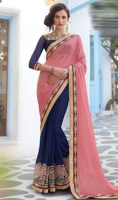 Invoke teasing merriment amongst your bystanders in this pink and blue color chiffon half n half sari. Beautified with lace, patch, resham and stones work. #plainpallusaris #womenchiffonsari #plainbordersarees