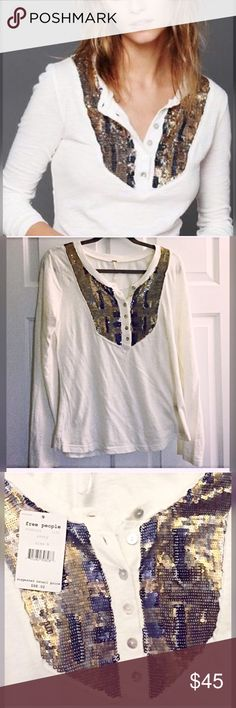 Free People NWT gorgeous Henley!! Ivory with very pretty sequin detail- not too much- just enough! 💕 - love! Free People Tops