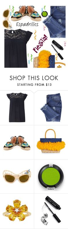 """""""Step into Summer:  Espadrilles"""" by juliehooper ❤ liked on Polyvore featuring Dorothy Perkins, Essie, Solillas, Nannacay, Dolce&Gabbana, David Tutera, Bobbi Brown Cosmetics and espadrilles"""