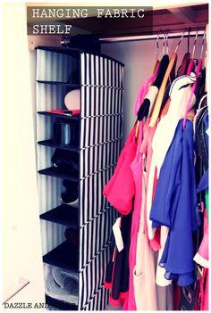 Hanging fabric shelf
