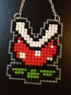 Mario Piranha Plant / Flower - Cross Stitch Necklace on silver chain