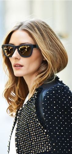 Olivia Palermo in Westward Leaning Sunglasses and Rebecca Taylor studded tweed jacket
