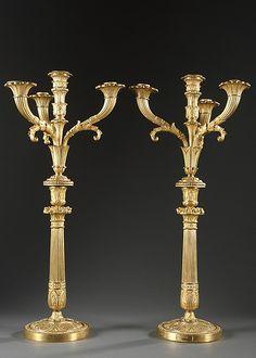 Pair of Gilt Bronze Charles X Candelabra