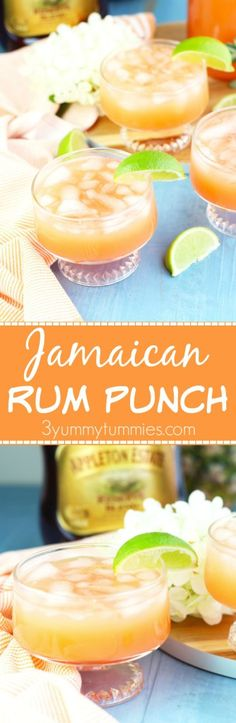 Make a pitcher of this refreshing Jamaican Rum Punch with dark rum, pineapple juice, orange juice, lime juice and grenadine.  One of my favorite cocktails!