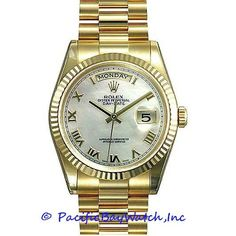 Condition: Mint Gender: Men's Dial Color: Mother of Pearl Case: 18k Yellow Gold 36 mm Bracelet: 18k Yellow Gold Bezel: 18k Yellow Gold Crystal: Scratch Resistan