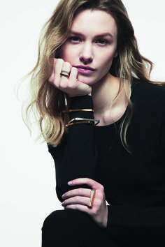 Our runway rings look perfect stacked together with our new triangle and square bangles. Mixed metals. Gold and Silver.