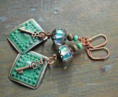 Green Boho earrings Tin Lampwork Green glass by MarianneMerceria