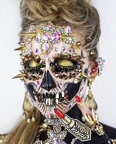 Holographic Unicorn Skull Halloween Makeup | POPSUGAR Beauty Photo 5