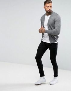 Shop ASOS DESIGN knitted cotton cardigan in gray twist at ASOS. Discover  fashion online. 4c3242148e