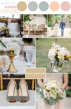 wedding colors for a vintage southern chic inspired wedding dusty miller rose pink peach gold silver and champagne