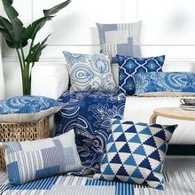 Blue Throw Pillows, Linen Pillows, Couch Pillows, Throw Cushions, Diy Couch, Linen Sofa, Chair Cushions, Decorative Pillow Cases, Decorative Cushions