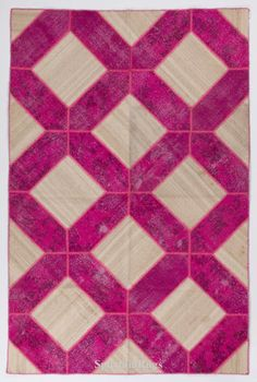 6.7x10 Ft Fuchsia and Beige Color Patchwork Rug by SplendidRugs
