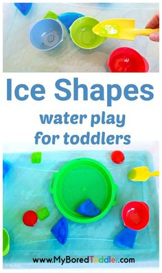 Ice shapes water play activity for toddlers. A fun water play and sensory play activity perfect for babies 1 year olds 2 year olds and 3 year olds. If you're looking for a fun Sprin Water Play Activities, Summer Activities For Toddlers, Spring Activities, Sensory Activities, Infant Activities, Learning Activities, Play Activity, Easy Toddler Crafts, Toddler Fun