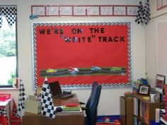 """We're on the """"WRITE"""" track bulletin board idea. """"PIT CREW""""-- for classroom jobs! Classroom Board, Classroom Jobs, Classroom Setup, Future Classroom, Bulletin Boards, Disney Classroom, Classroom Management, Road Trip Theme, Race Car Themes"""