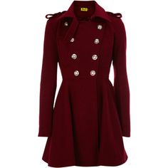 Gold Buttoned Flare Coat (£65) ❤ liked on Polyvore featuring outerwear, coats, jackets, coats & jackets, military style coat, flared coat, oasis coat, red full skirt and red flare coat