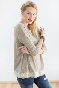 Longsleeves - Pullover Louise in beige - ein Designerstück von Shoko bei DaWanda